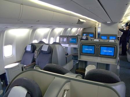 First class cabin plane